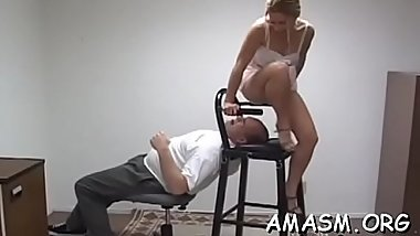Needy beauties are all over guy'_s face with female domination moves
