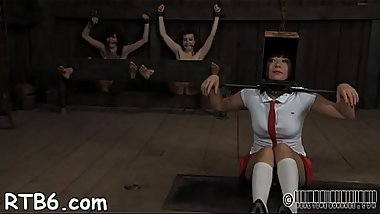 Tied up beauty receives amoral pleasuring for her pussy