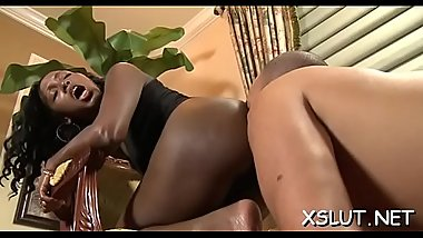 Brunette hair seduces dark stud into delightful face sitting action