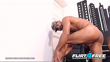 Nahun Ven - Flirt4Free - Latino Strips Out of Military Gear to Unleash Monster Cock
