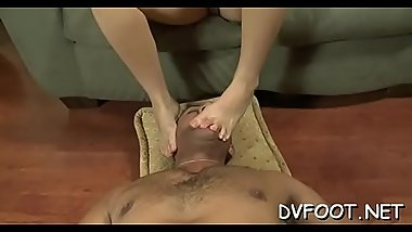 Hot foot fetisj with a sexy cutie smashing a face with feet