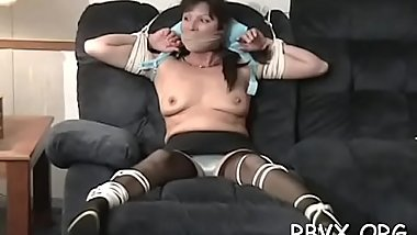 Thraldom loving slut relishes when her man straps her tight