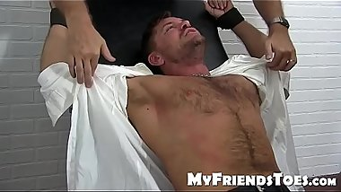 Tender tickling for a hairy-chested hunky jock from friends