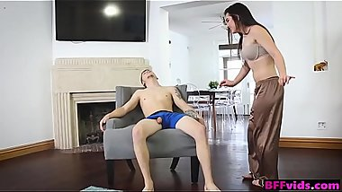 Sister &amp_ her friends fuck sleepwalking stepbrother