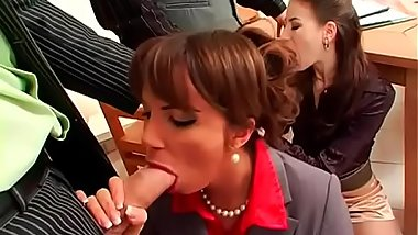 Insolent babes enjoying home foursome whilst dressed