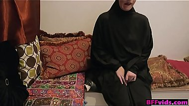 Muslim girls wearing hijab fuck male stripper