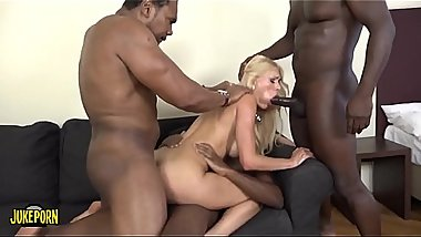 An explosive blonde with big tits, four big black cocks and a nice dildo