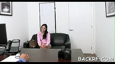 Enticing cutie tempts her interviewer in order to get a job
