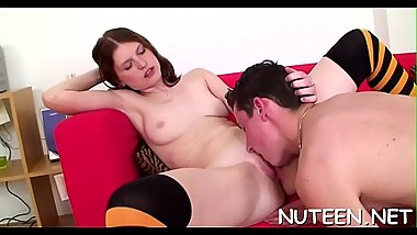 Gal gives nice irrumation and stands in doggie to be fucked