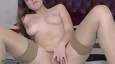 Big tits Teen fingers in tan stockings - live at link