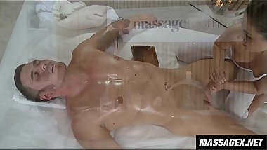 Gently Massaging the Tip of His Dick With Her Tits