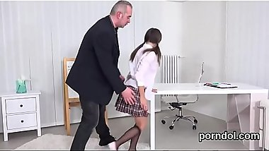 Sweet schoolgirl was teased and screwed by older schoolteacher