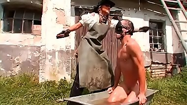 Stunning babe gets tied up and gagged by wicked female-dominant