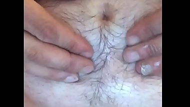 Straight hairy belly button play with sounds