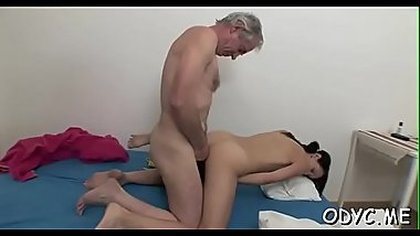 Stunning old and youthful fucking with sexy babe getting it hard