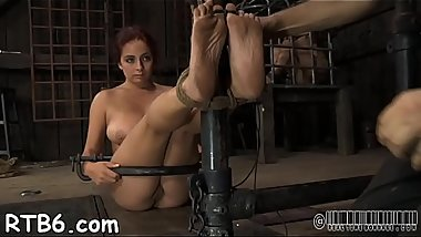 Clamped up honey is receiving lusty facial agony
