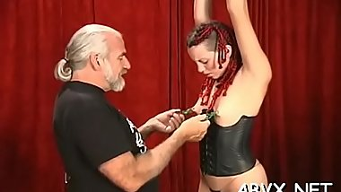 Dilettante babe with fine forms nasty bondage porn play