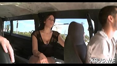 Dirty fucking session with a concupiscent bitch in a bang bus