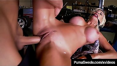 Mechanic Insults Puma Swede While Fucking Her Mouth &amp_ Pussy!