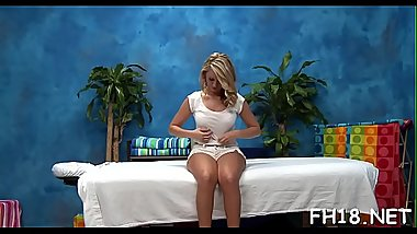 Sexy 18 year old honey gets screwed hard from behind by her massage therapist