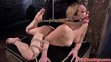 Restrained submissive shocked with toys