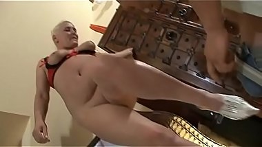 old woman plays with dildo