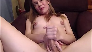 Teen Tranny Jerking Off Hard And Cumming On Herself