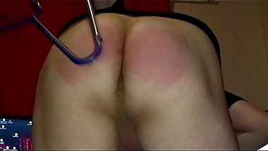 Amateur Boy spanks his ass with a clothes hanger 2 plus cock whipping