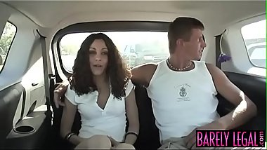 Young smoker Amina Sky fucked roughly in the back of a van