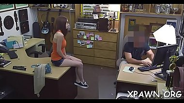 Amazing young woman is having sex in shop with guy