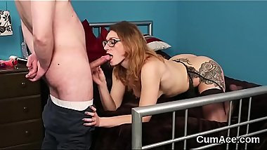 Feisty beauty gets cum shot on her face swallowing all the jism