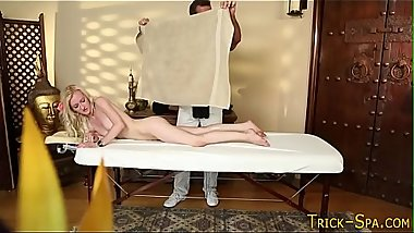 Massaged babe throats