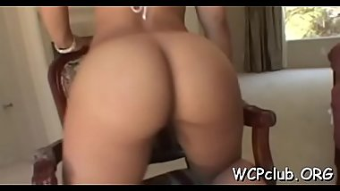 Vehement and horny ebony babe gets dick in all wet holes