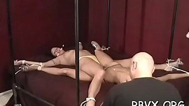 Hot blindfolded youngster experiences 1st bondage torture