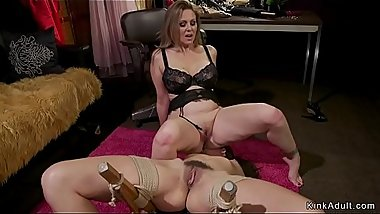 Hairy lesbian slave anal fucked