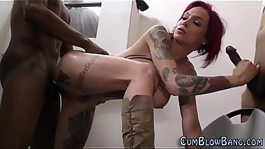 Gangbanged slut takes cum