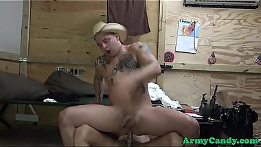 Tattooed soldier rides cock while wanking