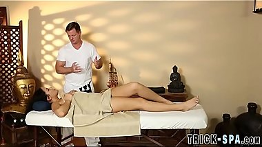 Cutie fucks masseur for jizz