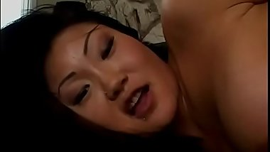 Horny Asian cock sucker Lucy Lee gets ass and cunt banged