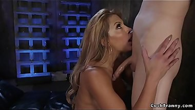 Tanned big tits blonde gets trannys dick
