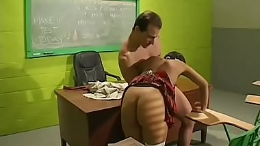 Captivating teacher gives a sexy blowjob and fingers pussy
