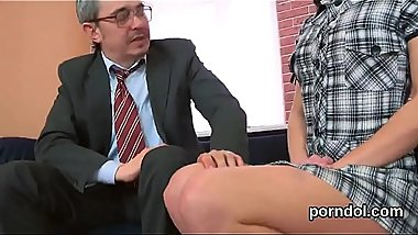 Ideal college girl was tempted and plowed by elderly mentor
