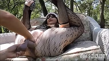 Double fisting and dildo fucking BBWs huge pussy
