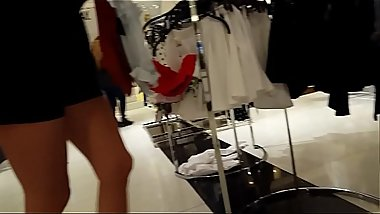 Candid amazing blonde shopping
