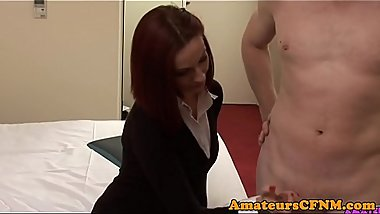 Babe humiliates naked guy before handjob