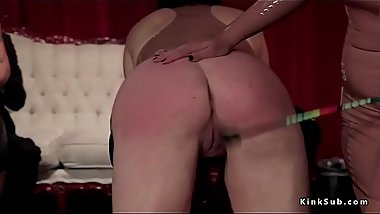 Hot lesbian slaves paddled and fucked