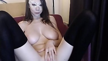 Cute Slim College Girl with Huge Tits and Vibrator