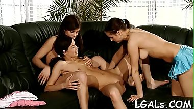 3 horny girls take up with the tongue pussies and assholes of each other