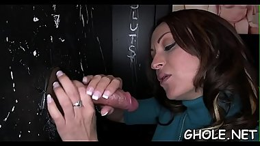 Wanton slut gives hot and messy pecker engulfing
