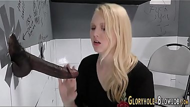 Teen sucks gloryhole dong